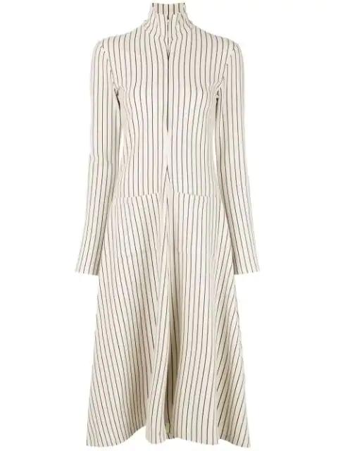 Rosie Assoulin Striped Shirt Dress In Cream