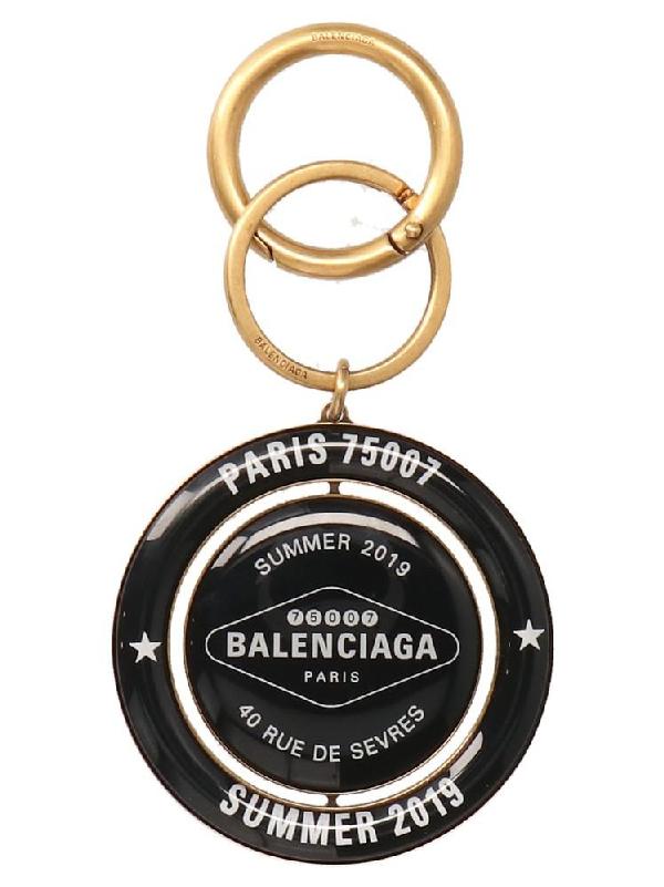 Balenciaga Casino Earp Round Keyring In 7079 Black