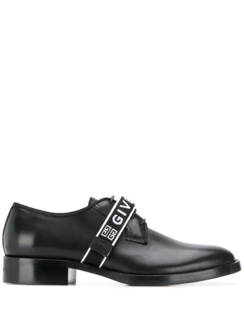 Givenchy Logo-Strap Leather Bluchers In Black