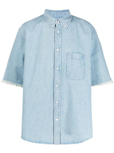 Balenciaga Button-down Collar Distressed Logo-print Denim Shirt In 8491 Clr Bl