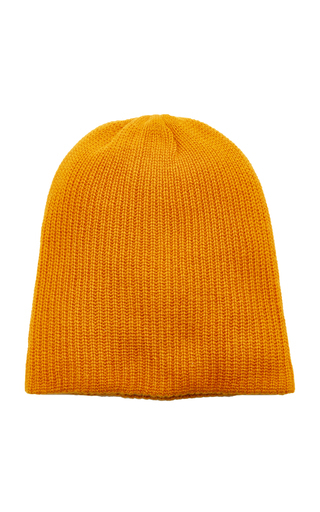 The Elder Statesman Watchman Ribbed Cashmere Beanie In Gold