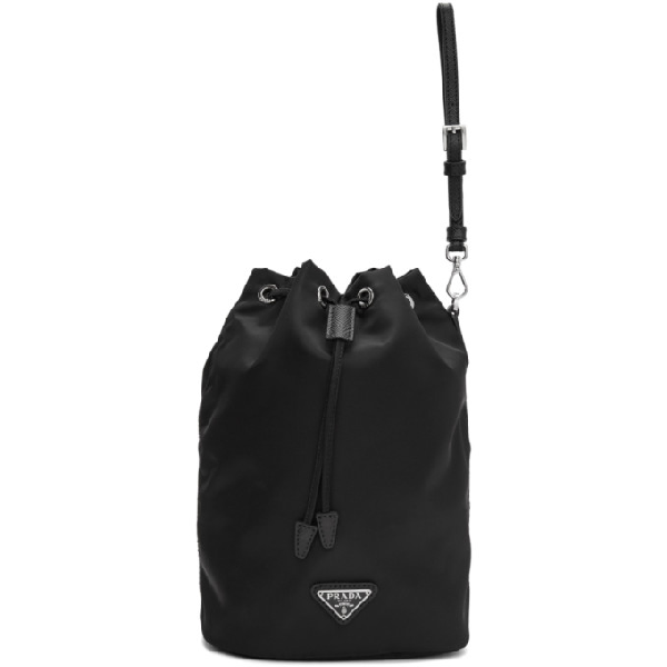 Prada Textured Leather-trimmed Nylon Bucket Bag In Black