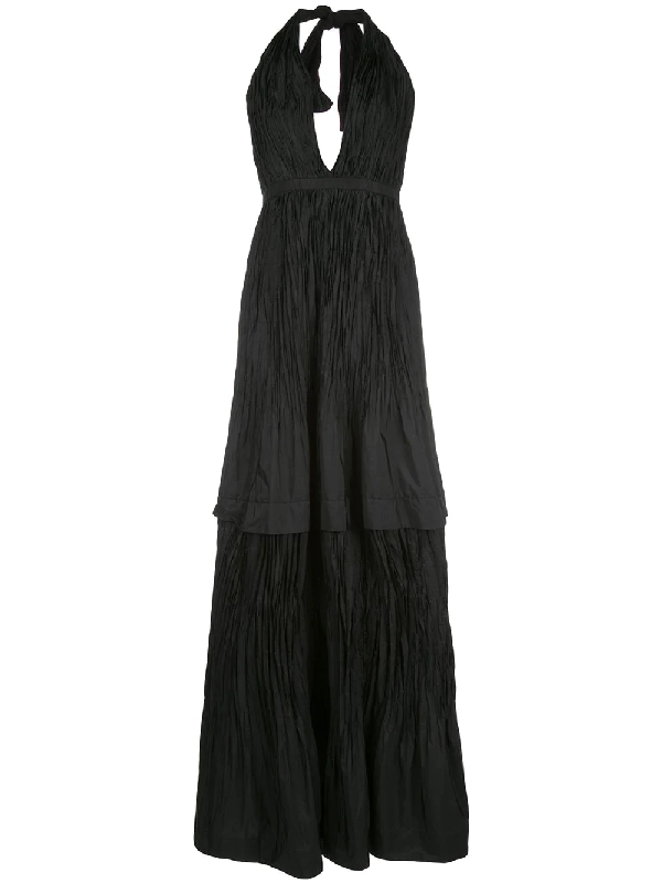 Alexis Tressa Fit-and-flare Plisse Gown In Black