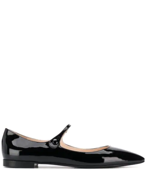 Prada Women's Leather Ballet Flats Ballerinas In Black