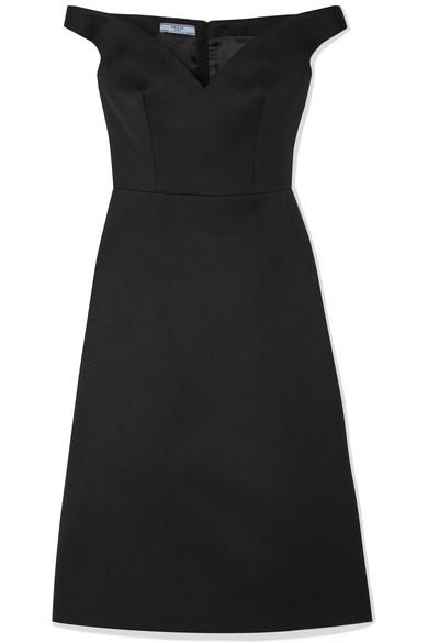 Prada Off-The-Shoulder Wool Gabardine Dress In Black