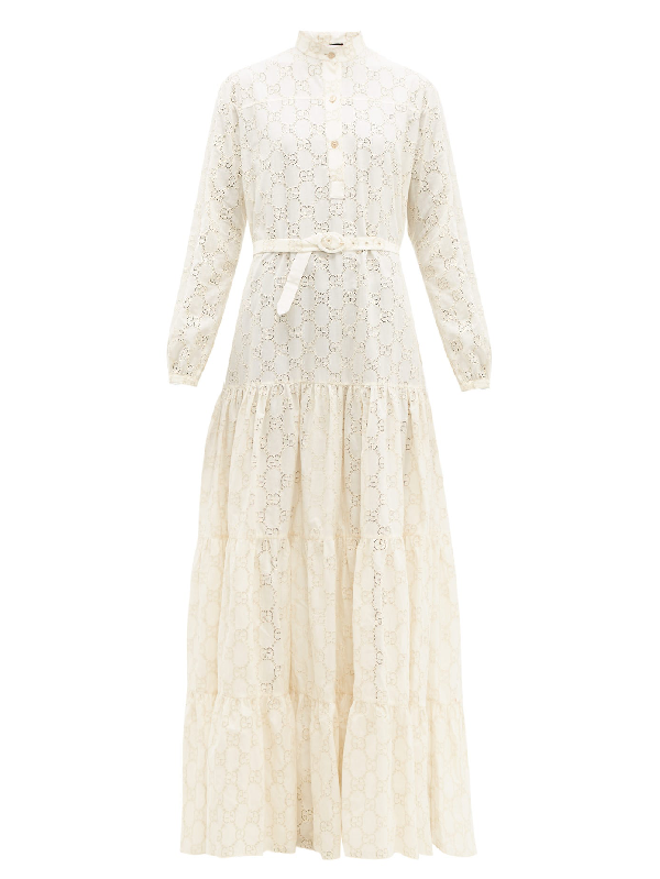 Gucci Gg Broderie Anglaise Cotton-blend Maxi Dress In Ivory