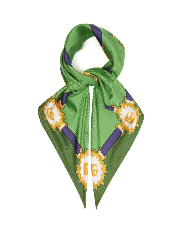 Gucci Harness-print Silk-twill Scarf In Green