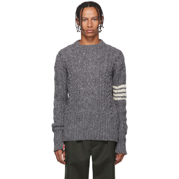 Thom Browne Grey Aran Cable 4-Bar Sweater In 035 Med Gry