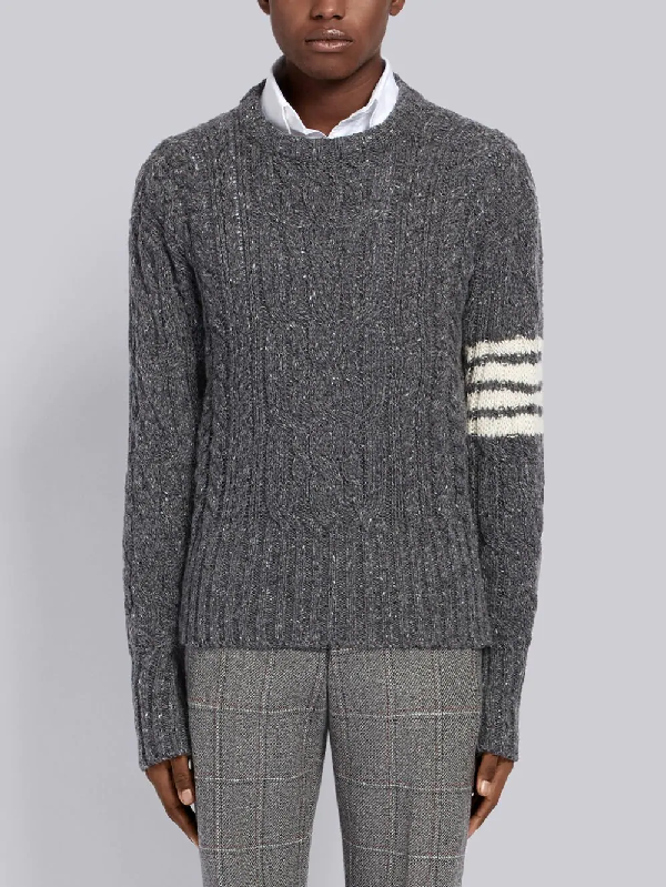 Thom Browne Aran Cable 4 Bar Donegal Crew Knit In 035 Med Gry