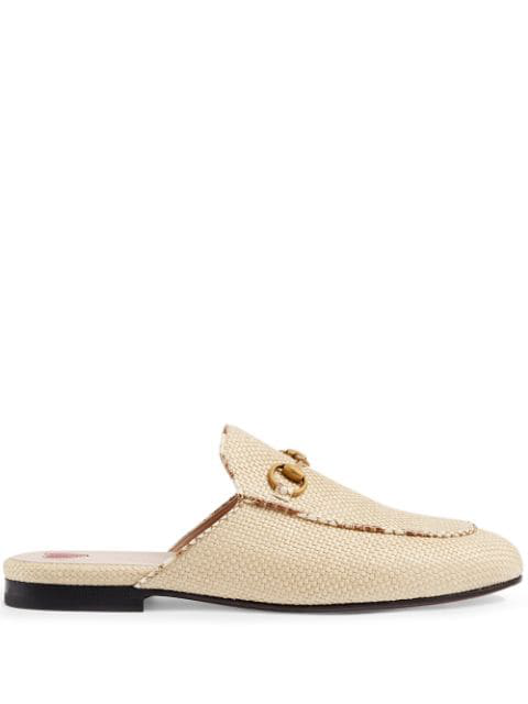 Gucci Princetown Raffia & Leather Backless Loafers In White