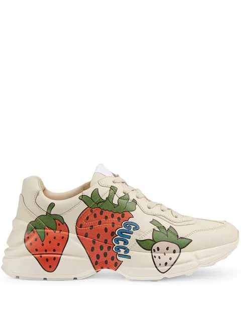 Gucci Rhyton Strawberry Print Leather Trainers In White