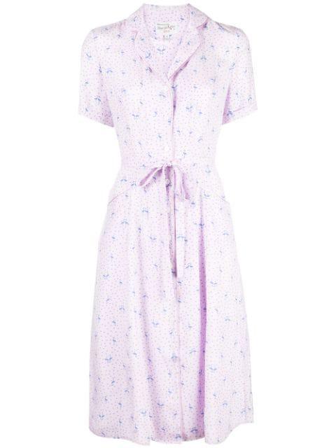 Hvn Flamingo Print Shirt Dress In Purple
