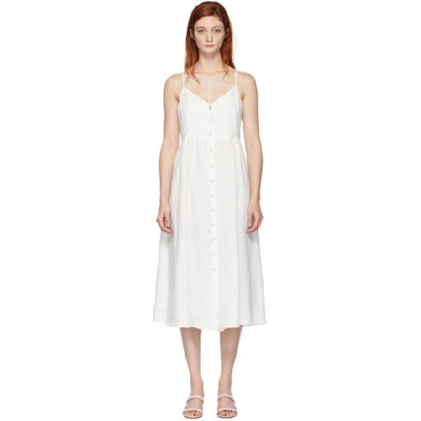 Mansur Gavriel Linen Button-Front Dress In White