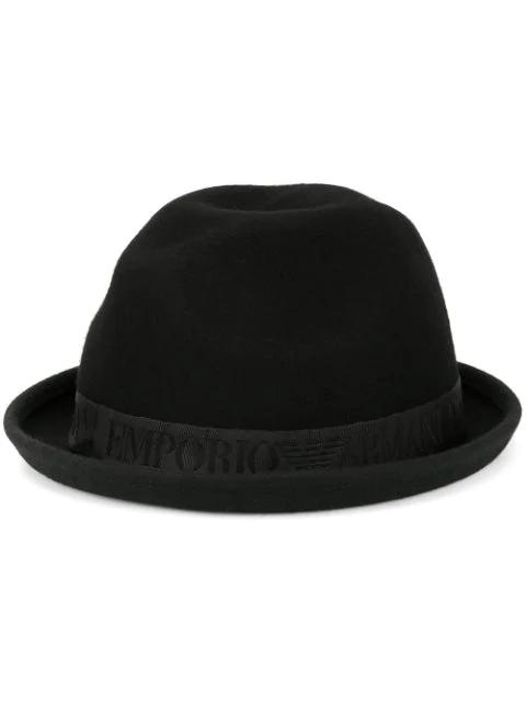Emporio Armani Hut Mit Hochgeklappter Krempe In Black