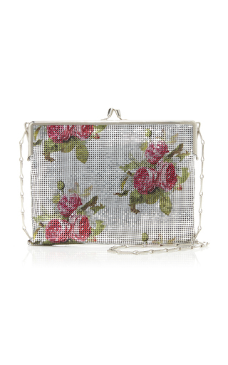 Paco Rabanne Pixel 69 Floral-print Chainmail Bag In Silver