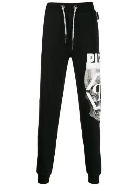 Philipp Plein Skull Print Track Trousers In Black