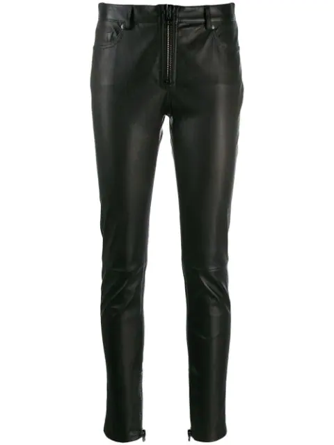 Tom Ford Stretch Leather Zip Front Leggings In Black
