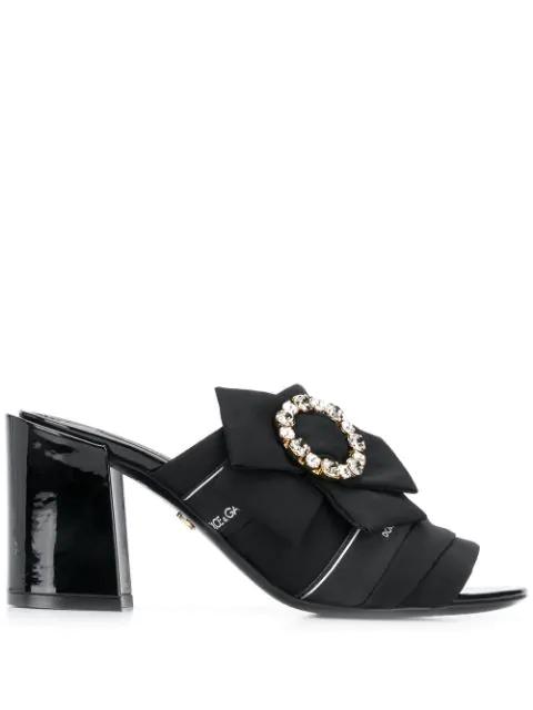 Dolce & Gabbana Crystal Buckle Keira Mules In 8b956 Nero