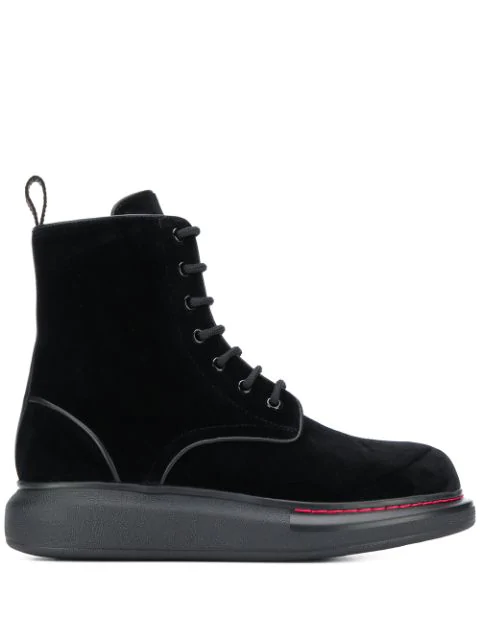 Alexander Mcqueen Leather-Trimmed Velvet Exaggerated-Sole Ankle Boots In Black