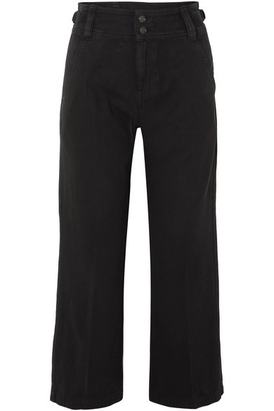 Current Elliott The Relaxed Army Cotton And Linen-blend Wide-leg Pants In Black