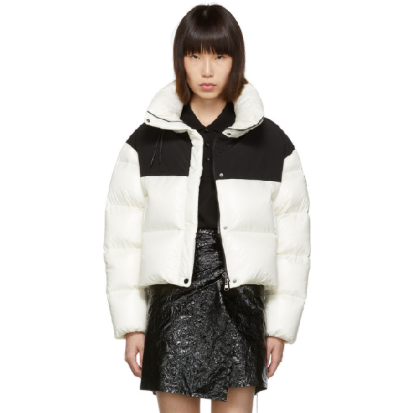 Moncler Hooded Two-tone Quilted Shell And Jersey Down Jacket In 034 White