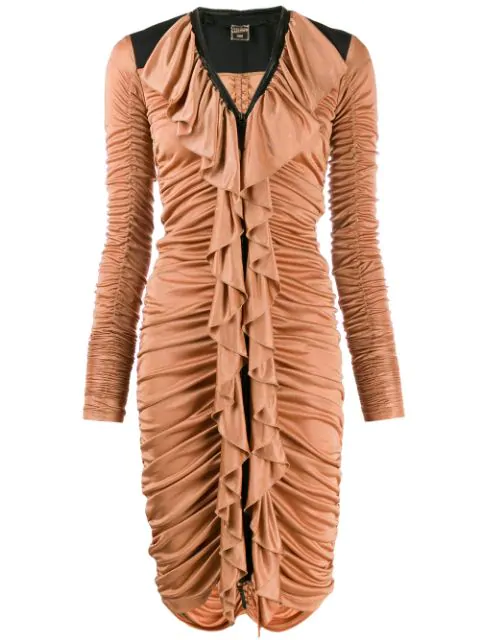 Jean Paul Gaultier 1990's Ruched Dress In Brown