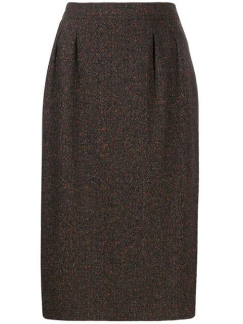 Saint Laurent 1980's Midi Skirt In Brown