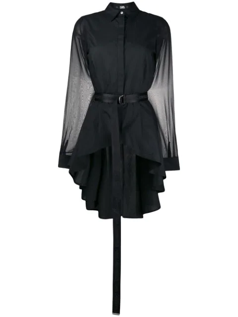 Karl Lagerfeld High-low Poplin Shirt In Black