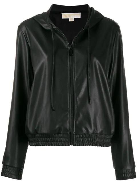 Michael Michael Kors Faux-leather Zip Hoodie In Black