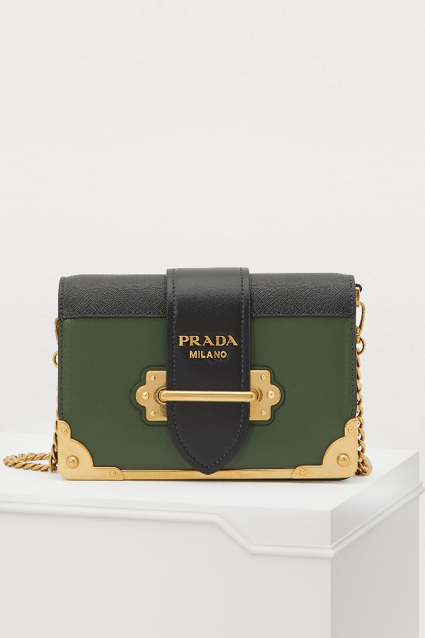 Prada Cahier Mini Shoulder Bag In Forest-Black