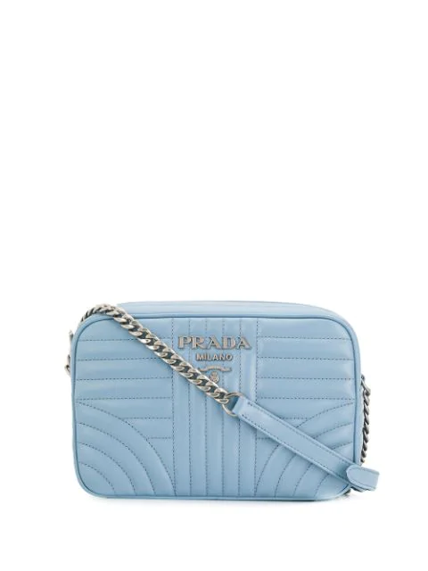 Prada Diagramme Leather Crossbody In Blue