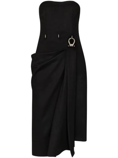 Prada Strapless Hardware-waist Wool Dress In Black