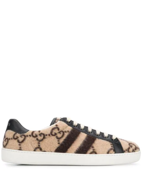 Gucci New Ace Logo-Print Cotton-Terry Trainers In Neutrals