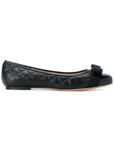 Salvatore Ferragamo Women's Varina Quilted Leather Cap Toe Ballet Flats In Black