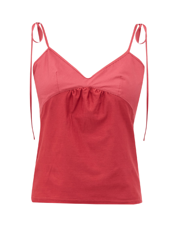 Rossell England Tie-strap Cotton-jersey Camisole In Ruby