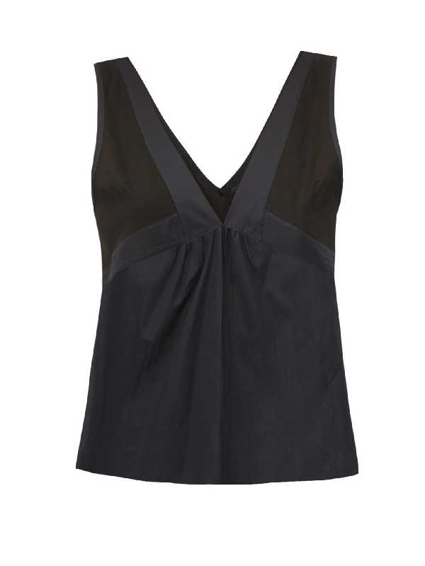 Rossell England Sheer-panelled Cotton Camisole In Black