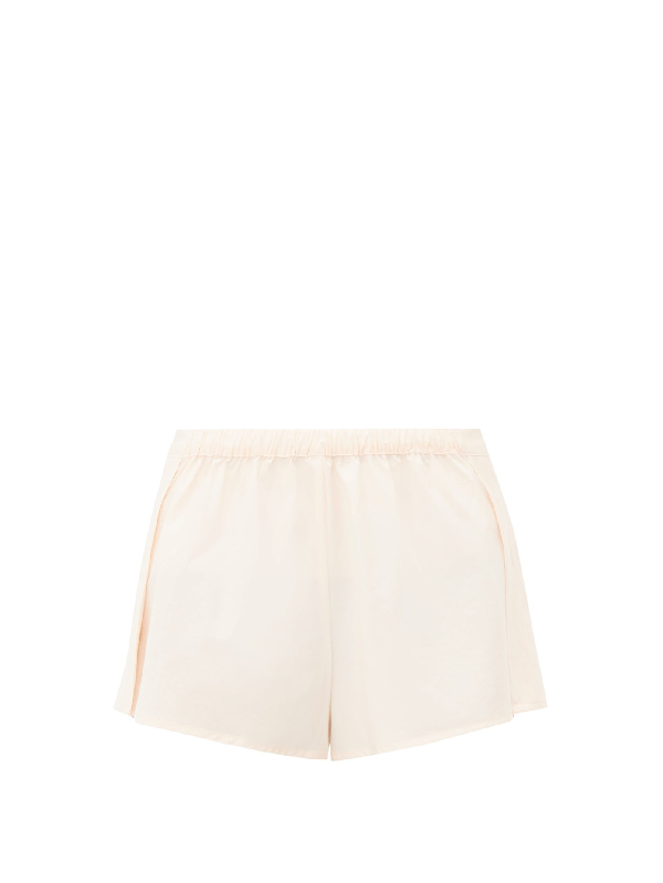 Rossell England High-rise Cotton-poplin Pyjama Shorts In Nude
