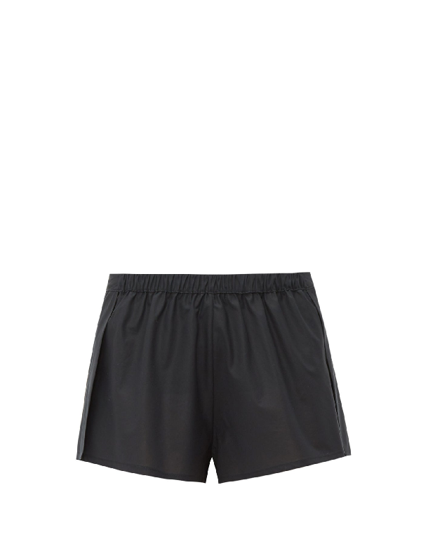 Rossell England Wrap Poplin Pyjama Shorts In Black