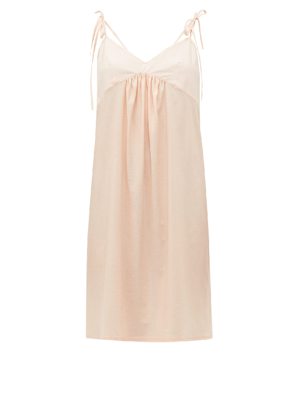 Rossell England Tie-strap Cotton Slip Dress In Nude