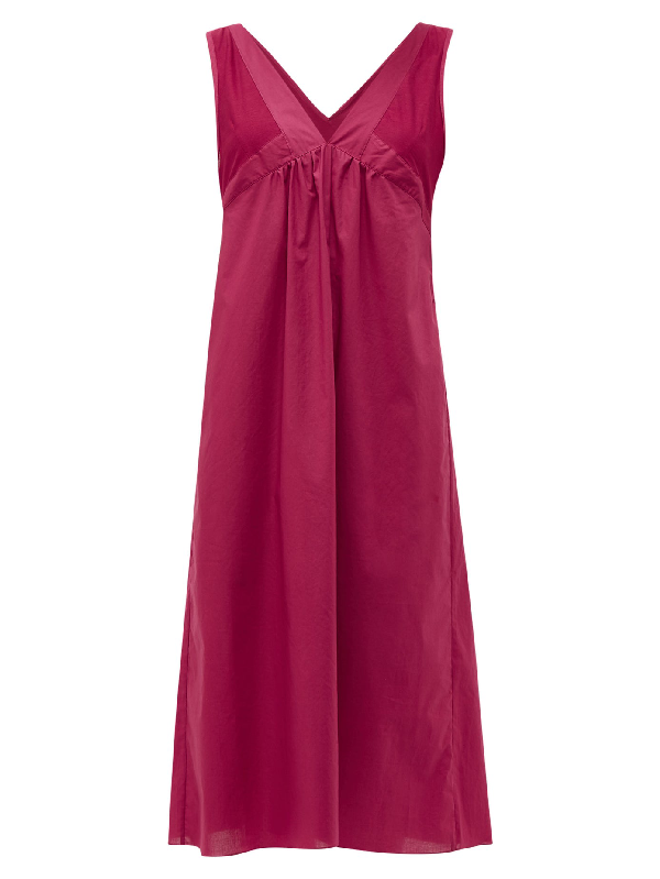 Rossell England Sheer-panelled V-neck Cotton Nightdress In Ruby