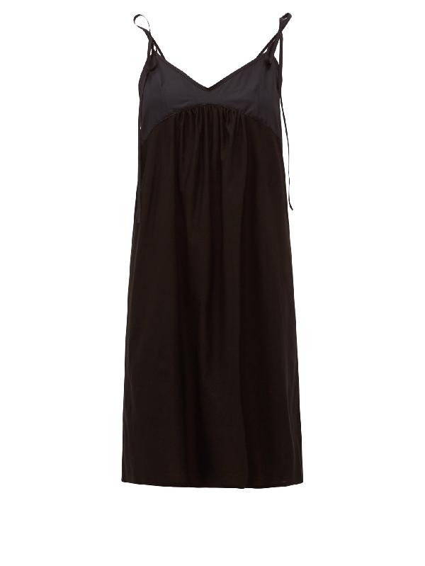 Rossell England Tie-strap Cotton Slip Dress In Black