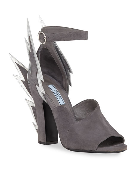 Prada Suede Lightning Bolt Ankle-Wrap Sandals In Gray