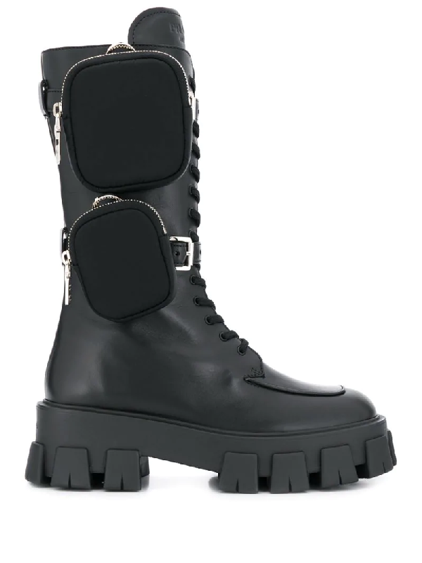 Prada Monolith Nylon Pocket-detailed Leather Combat Boots In Black