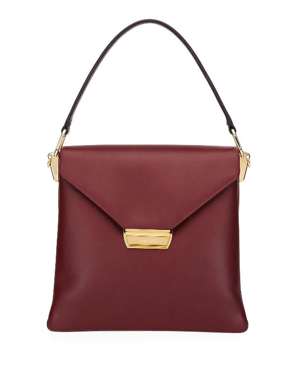 Prada Ingrid Smooth Leather Top-Handle Shoulder Bag In Dark Red