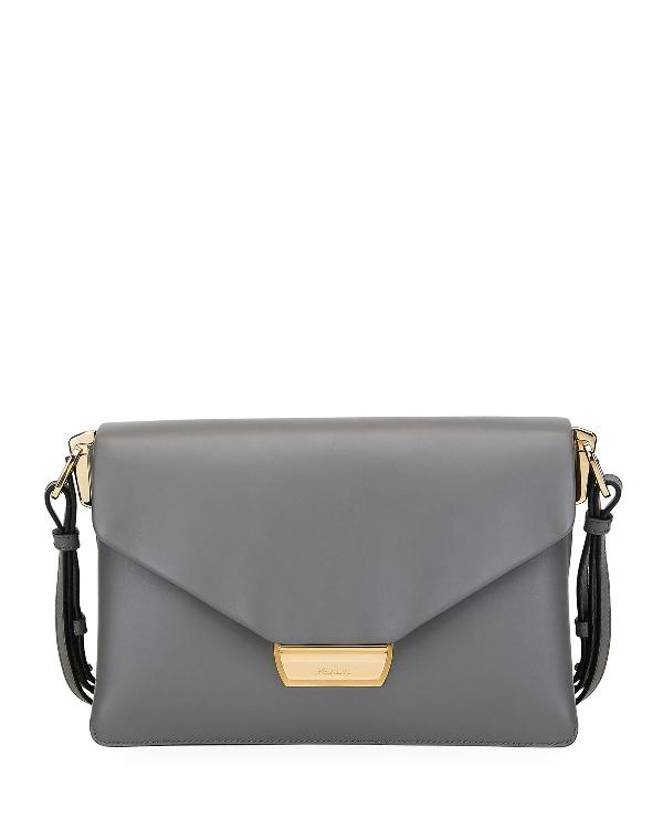 Prada Ingrid Smooth Leather Shoulder Bag In Light Gray