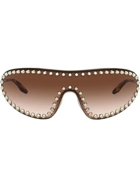 Prada 170Mm Studded Gradient Wraparound Shield Sunglasses - Pale Gold/ Brown Gradient In 5086S1 Pale Gold