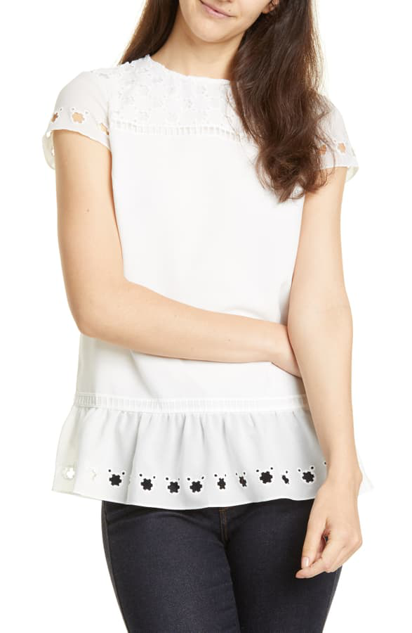 Ted Baker Broiderie Lace Peplum Hem Top In White