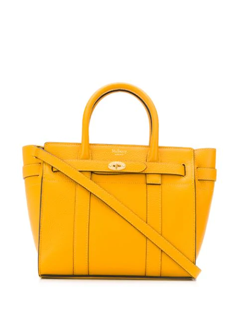 Mulberry Mini Zipped Bayswater Leather Tote In Yellow