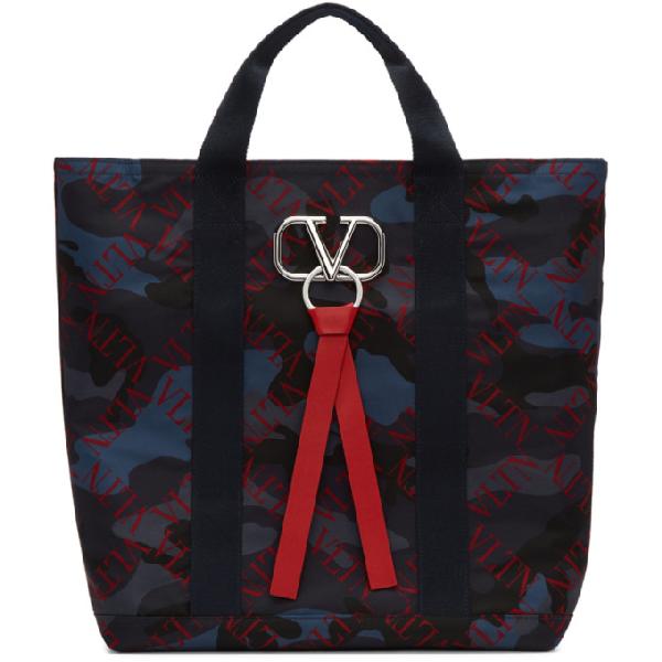 Valentino Garavani Vring Tote Bag In Ek7 Marine