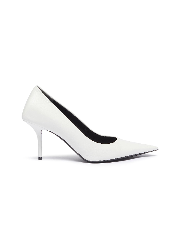 Balenciaga Knife Leather Pointed Toe Pumps In White